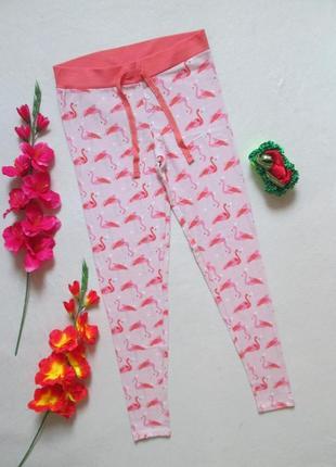 Суперовые хлопковые стрейчевые домашние штаны лосины принт фла...