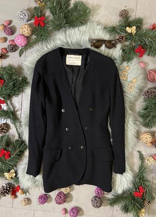 Актуальный винтажный приталенный шерстяной двубортный пиджак #6