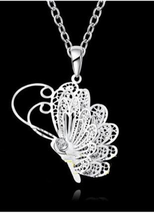 🏵ажурная подвеска на цепи кулон бабочка в серебре 925, новый! ...