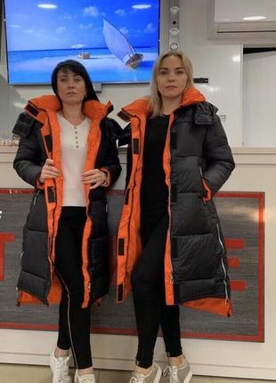 Суперское теплое стильное женское зимнее пальто-пуховик