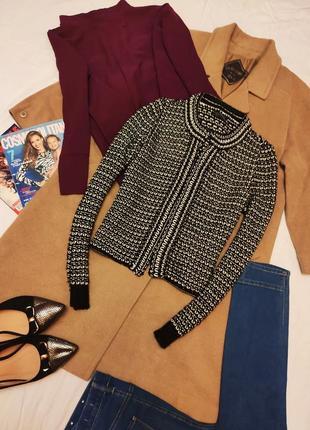 Topshop жакет пиджак чёрный белый золотая нитка твидовый вязанный