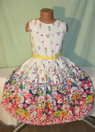 Хлопковое нарядное платье на 10лет
