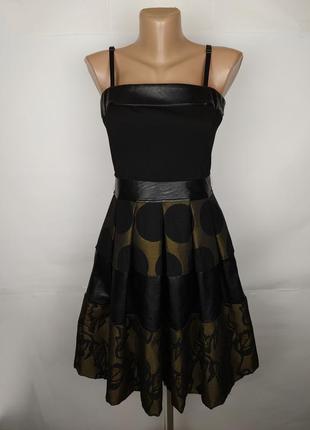 Платье итальянское модное под кожу плотное объемное uk 10/38/s