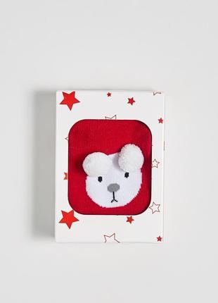 Новые красные носки полоски медведь подарочная упаковка польша...