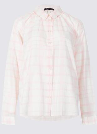 Хлопковая рубашка в нежно-розовую клетку с рукавами реглан mar...
