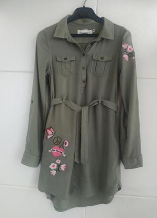Платье-рубашка для девочки 9-10лет h&m с вишивкой красивых цветов