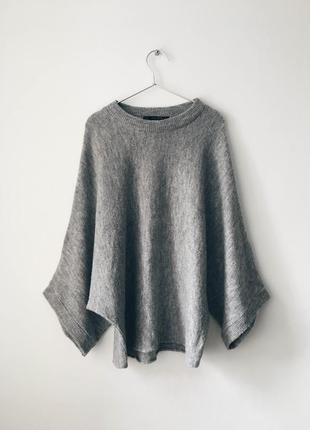 Свитер-кимоно с шерстью в составе zara шерстяной серый свитер ...