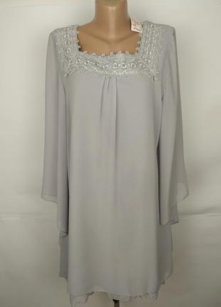 Платье новое шикарное шифоновое с кружевом uk 14/42/l