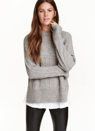 Шерстяной серый свитер с косами h&m теплый свитер с манжетами