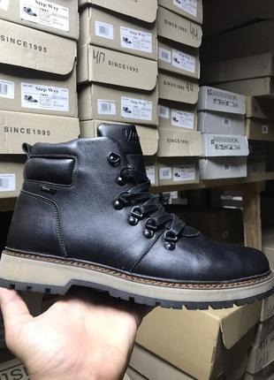 Ботинки мужские yuves 776 черные (натуральная кожа, зима)