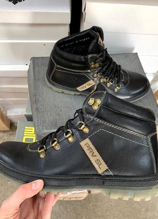 Ботинки мужские pav 3231 черные (натуральная кожа, зима)