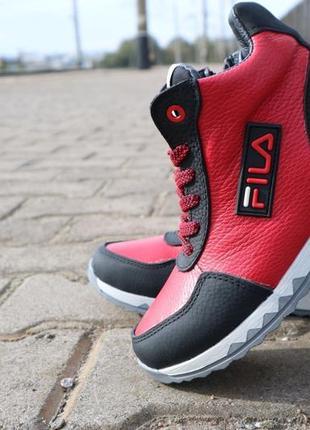 Ботинки детские crossav z 48 красные-черные (натуральная кожа,...