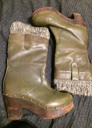 Topshop кожаные сапоги ботинки на платформе