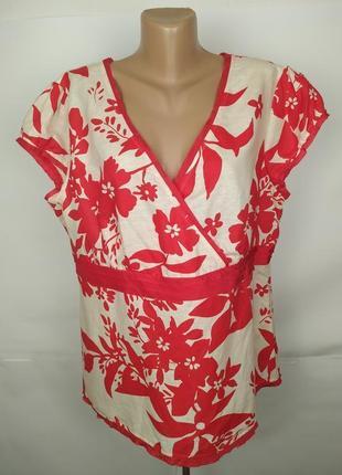 Блуза приталенная красивая на запах натуральная лен вискоза mo...