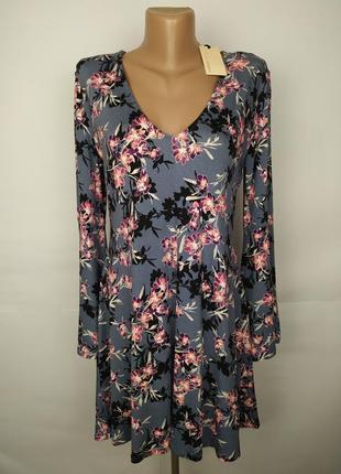 Платье новое трикотажное вискозное красивое в цветочный принт ...