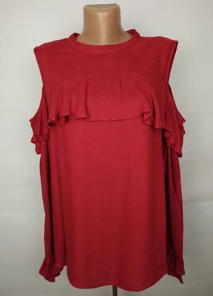 Блуза красная натуральная с рюшами и открытыми плечами avon uk...