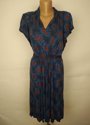Платье стильное натуральное трикотажное в бабочки под пояс fre...
