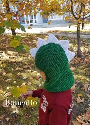 Зимняя шапка шлем балаклава динозавр - дракон
