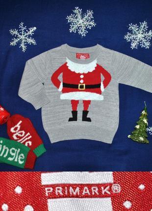 Новогодний свитер с сантой дедом морозом на 9-12мес