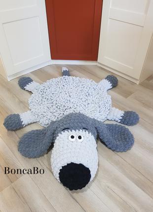 Мягкий плюшевый коврик для детей собака Щенок. Серый