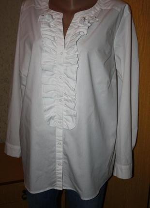 Белая блуза  рубашка жабо,20-22 р.