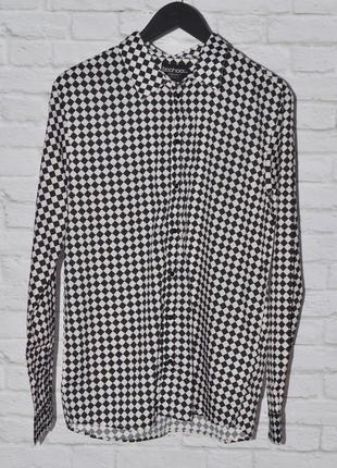 Легкая мужская рубашка шахматная доска от boohoo
