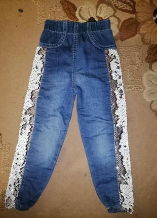 Стрейчевые джинсы, лосины с пайетками