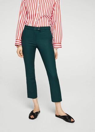 Mango зеленые брюки классика укроченные