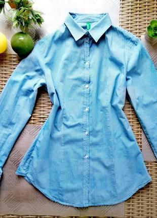 Бвзовая рубашка в клетку united colors of benetton