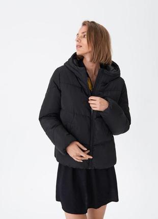 Новая женская демисезонная чёрная куртка с капюшоном house