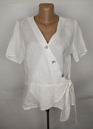 Блуза льняная белая красивая на запах h&m uk 16/44/xl