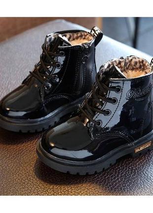 Лакированные зимние ботинки на меху
