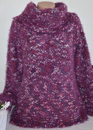 Брендовая фиолетовая теплая кофта свитер джемпер с горловиной ...
