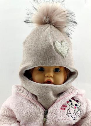 Детская шапка шлем с помпоном ангоровая теплая люрекс