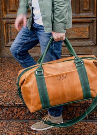 Коричневая дорожная сумка, спортивная мужская сумка из винтажн...