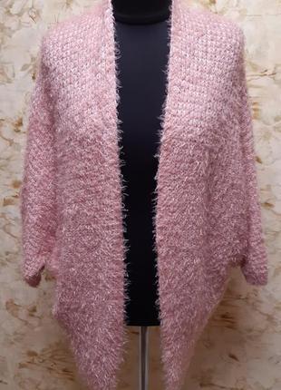 Стильный очень  теплый кардиган,  нежно розового цвета,  разме...
