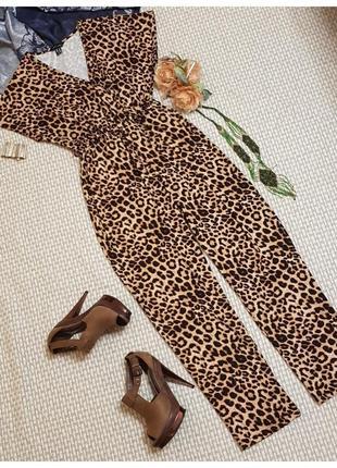 Леопардовый комбинезон брючный new look