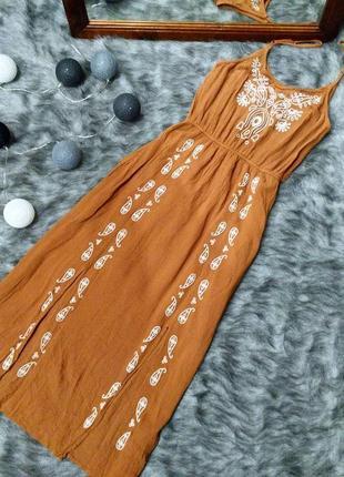 Платье сарафан на бретелях с вышивкой