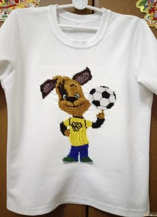 вышью на заказ детскую футболку бисером