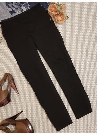 Черные джеггинсы, штаны с бусинами zara