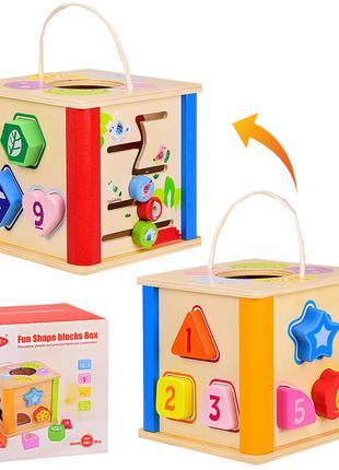 Деревянный куб-сортер VV206 (18шт) в коробке 18*18*17.5 см, р-...