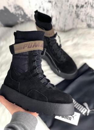 Женские зимние ботинки puma x fenty scuba boot black