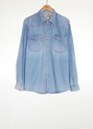 Мужская джинсовая рубашка чоловіча джинсова сорочка m