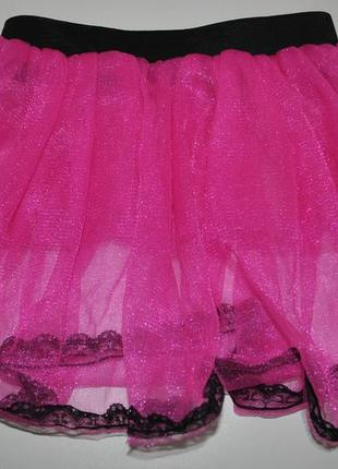 Юбка 9-10 лет пышная розовая яркая неоновая на танцы 135-140 см