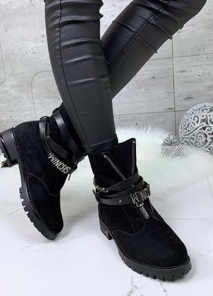 Зимние замшевые ботинки с ремешками,стильные зимние ботинки с ...