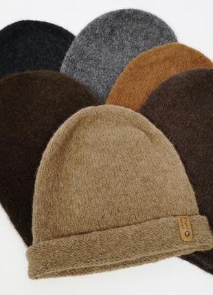 Теплая шапка бини бесшовная альпака зима теплая ручная работа