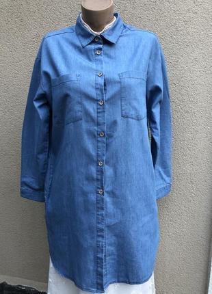 Тонкая,джинсовая рубашка с карманами,блуза,туника,большой разме