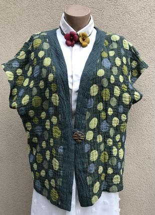 Блуза,жилет,кардиган,безрукавка,жакет в горохи, лен,этно,бохо ...