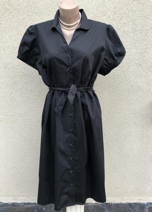 Новое,чёрное платье-халат на застежке,хлопок,большой размер, б...