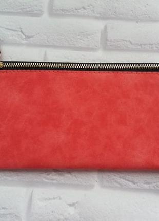 Кошелек большой красный тонкий гаманець жіночий